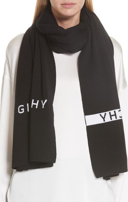 Givenchy Knit Logo Wool Scarf