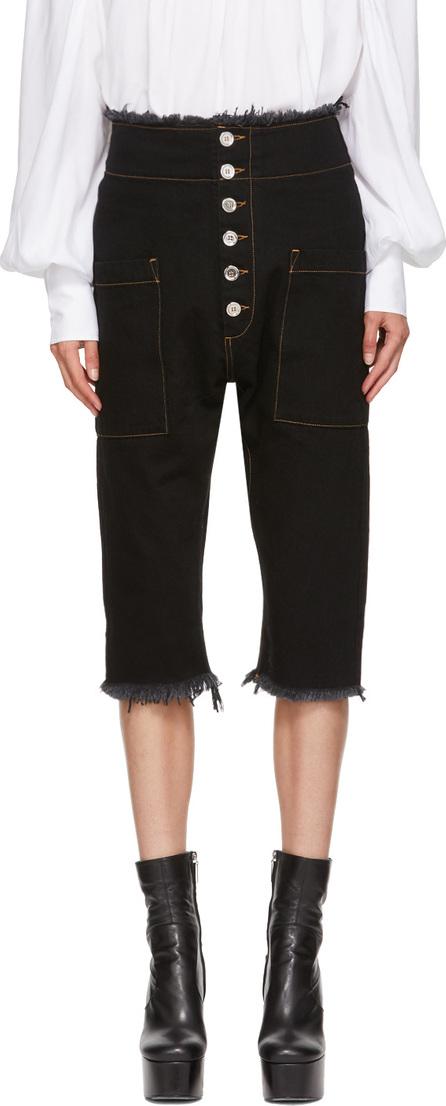 Marques'Almeida Black Cropped Drop Jeans