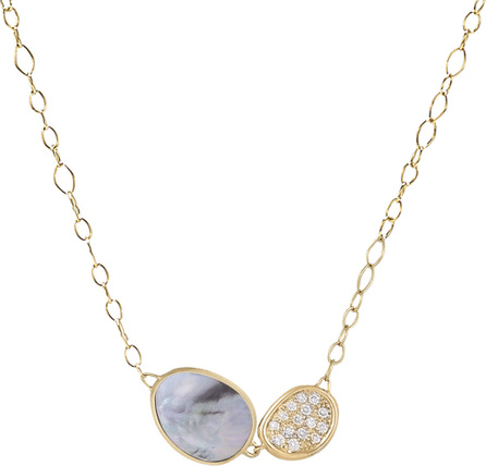 Marco Bicego Lunaria Two-Pendant Necklace with Black Mother-of-Pearl & Diamonds