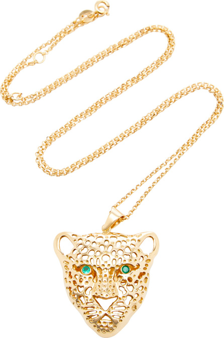 Donna Hourani 18K Gold and Emerald Leopard Pendant Necklace