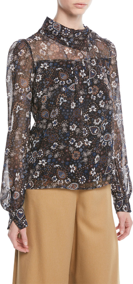 See By Chloé Printed Long-Sleeve High-Neck Blouse