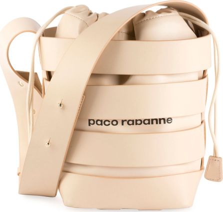 Paco Rabanne Cage Leather Small Hobo Bag, Nude