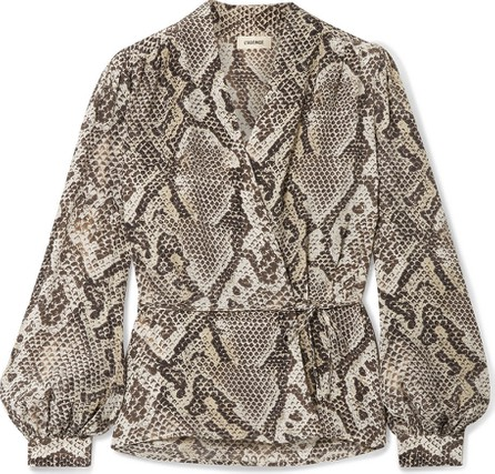 L'AGENCE Cara snake-print silk crepe de chine wrap blouse