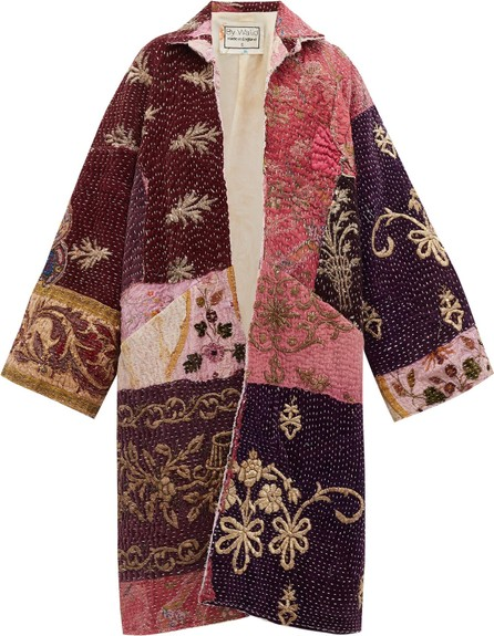 By Walid Liza floral-embroidered silk-velvet coat