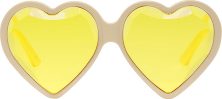 Gucci Off-White & Yellow Heart Sunglasses