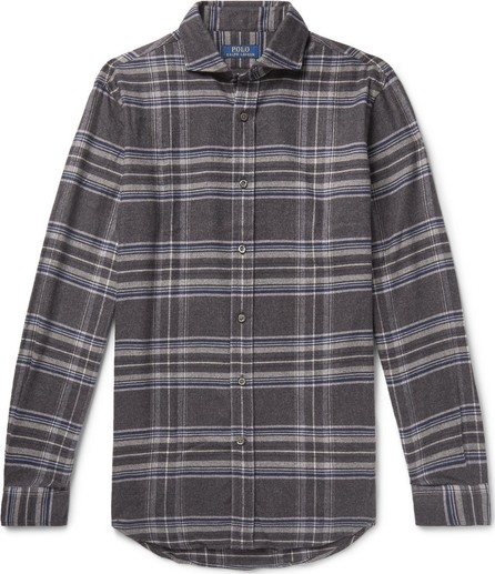 Polo Ralph Lauren Cutaway-Collar Checked Wool-Flannel Shirt