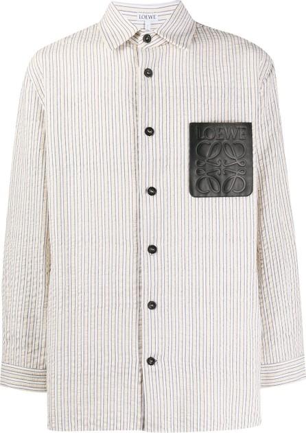 LOEWE Striped logo pocket shirt