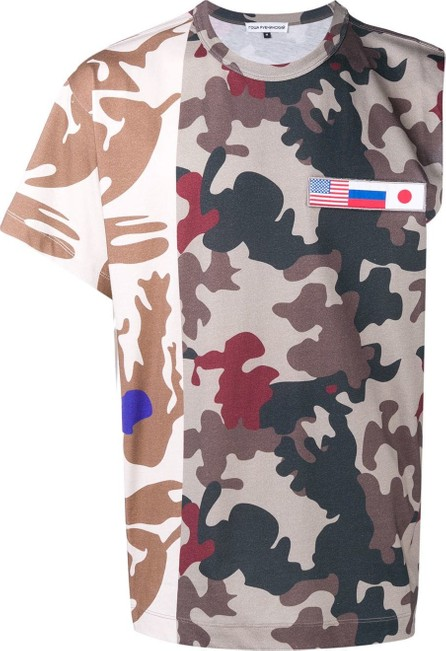 Gosha Rubchinskiy Flag patch camo print T-shirt