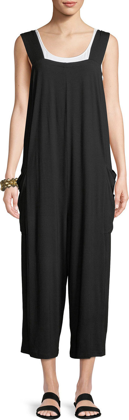 Eileen Fisher Wide-Strap Cropped Viscose Jersey Jumpsuit