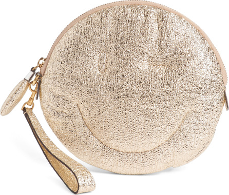 Anya Hindmarch Chubby Smiley Crinkled Metallic Clutch