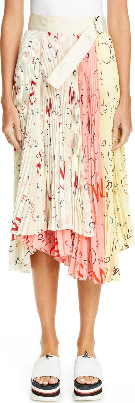 Moncler by Moncler Genius x 2 Moncler 1952 Letter Print Pleated Silk Skirt