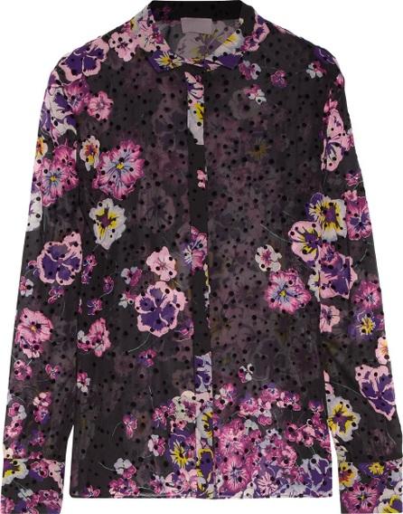 GIAMBA Flocked floral-print silk-chiffon blouse
