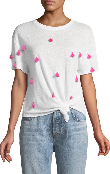 Generation Love Penny Crewneck Short-Sleeve Knot-Hem Linen Top with Tassel Trim