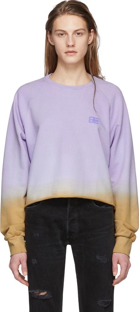 Baja East Purple Tie-Dye Cropped Raglan Crewneck Sweatshirt