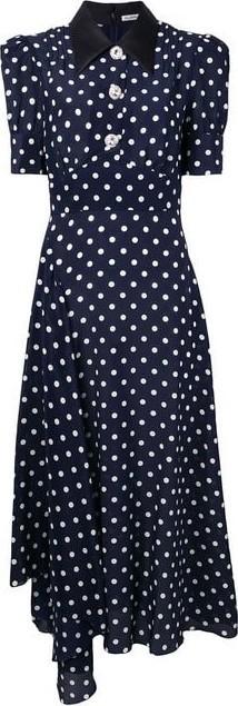 Alessandra Rich Collar Polka Dot Midi Dress