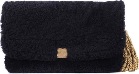 Golden Goose Deluxe Brand Fur and leather clutch