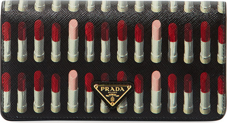 Prada Lipstick-Print Saffiano Crossbody Wallet/Tech Case Bag
