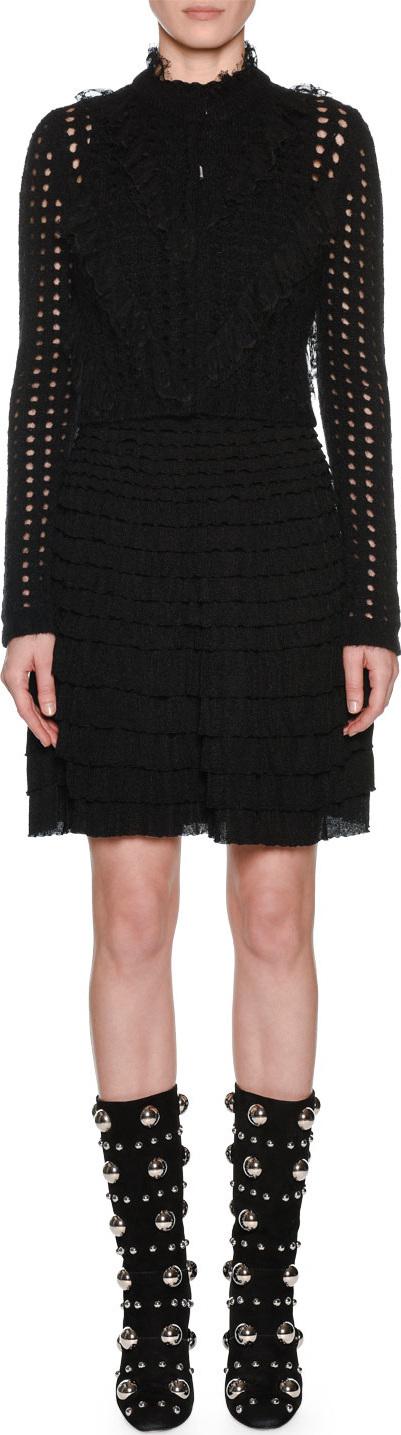 Giambattista Valli Long-Sleeve Ruffled Lace Front Open-Stitch Wool-Mohair Cardigan