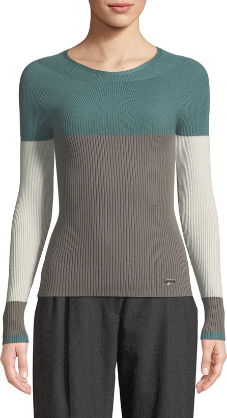 Emporio Armani Crewneck Long-Sleeve Colorblocked Ribbed Knit Top