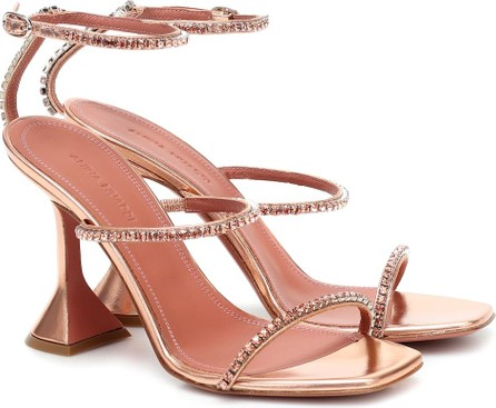 Amina Muaddi Gilda metallic-leather sandals