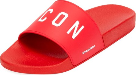 DSQUARED2 Men's Logo Rubber Slide Sandals, Red/White