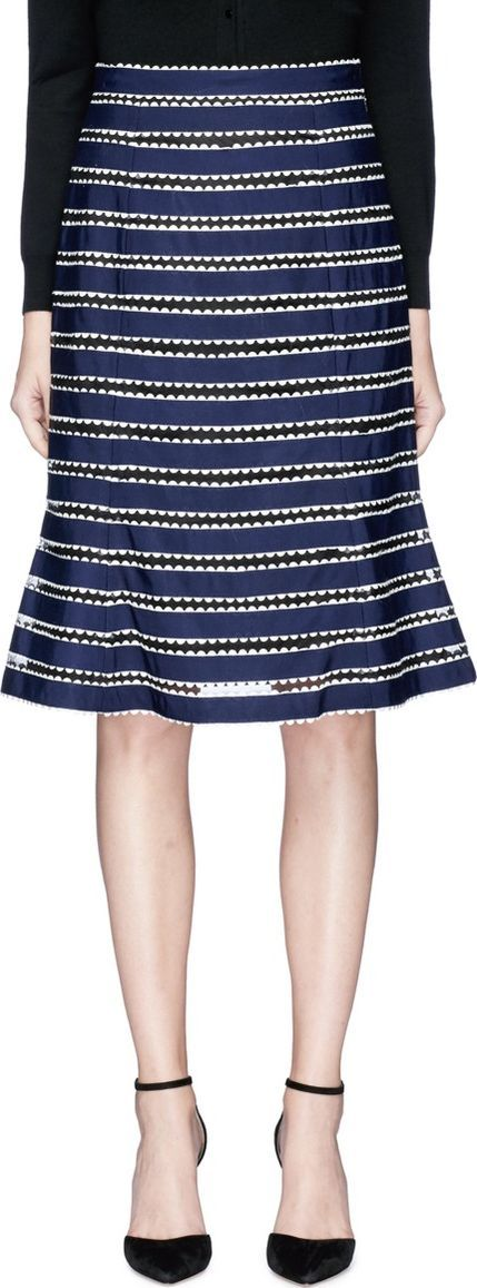 Oscar De La Renta Ribbon stripe tulle flared skirt