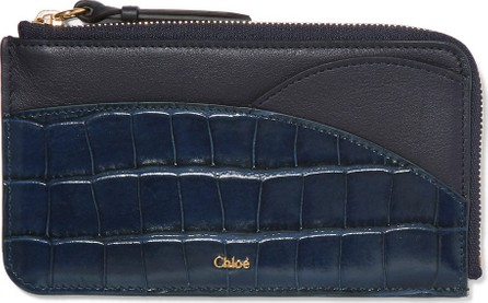 Chloe Walden smooth and glossed croc-effect leather cardholder