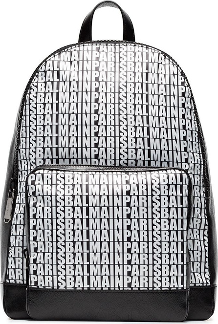 Balmain Logo leather backpack