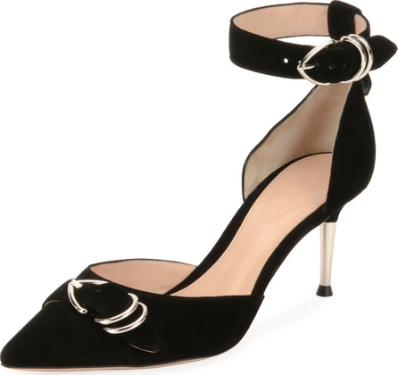 Gianvito Rossi Suede Ankle-Strap d'Orsay Pump