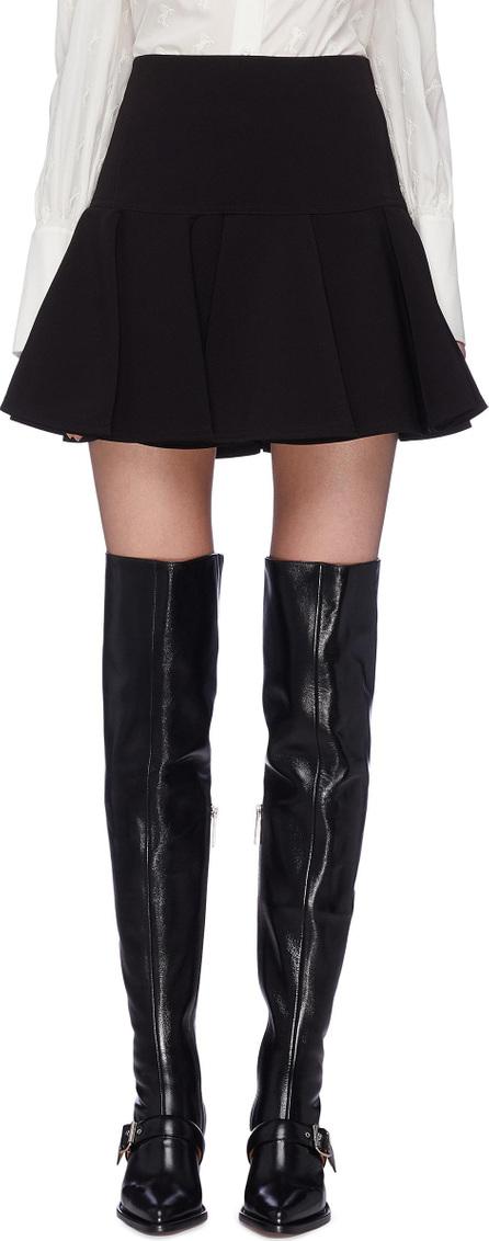 Chloe Pleated flared crepe skirt