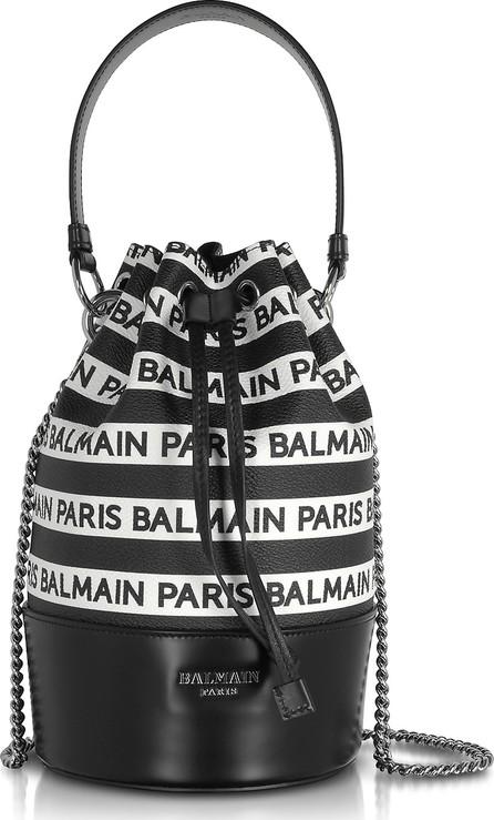 Balmain Signature Black and White Striped Bucket Bag