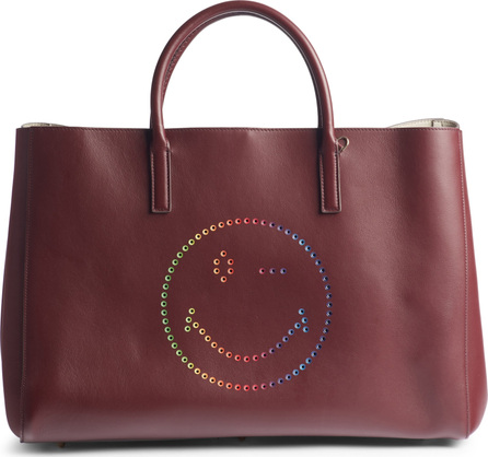Anya Hindmarch Ebury Rainbow Smiley Leather Tote