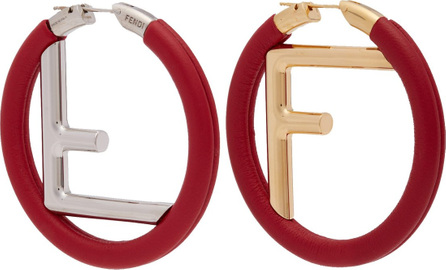 Fendi Orecchini logo leather earrings