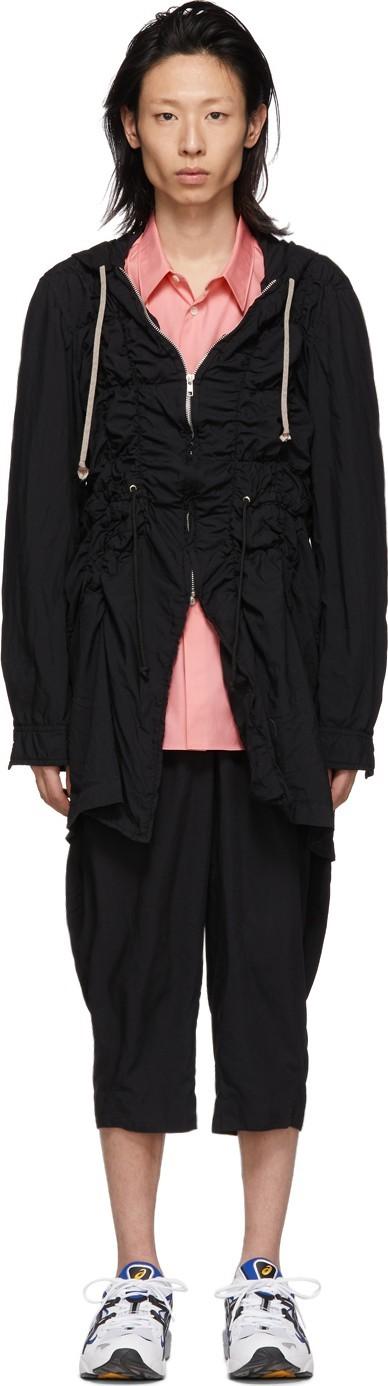 Comme Des Garçons Homme Plus Black Broadcloth Ruched Coat