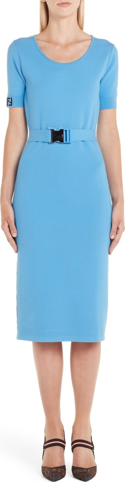 Fendi Belted Logo Dress