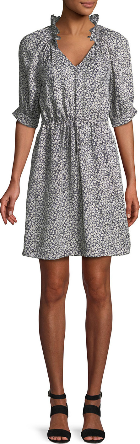 Rebecca Taylor Lauren Floral 3/4-Sleeve Silk Mini Dress