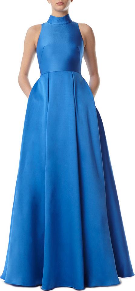 ML Monique Lhuillier Ball Gown Dress w/ High Collar & Pockets