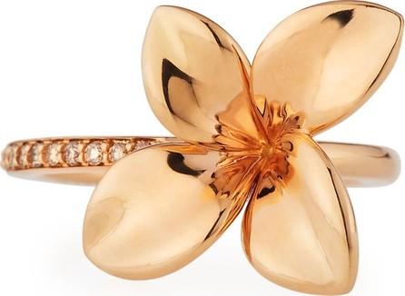 Pasquale Bruni Giardini Segreti Floral 18K Rose Gold Ring with Diamonds, Size 5.5