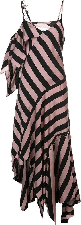 Marques'Almeida Striped asymmetric maxi dress