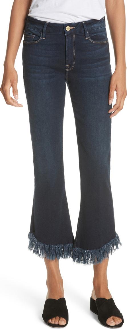 FRAME DENIM Le Crop Shredded Hem Mini Boot Jeans