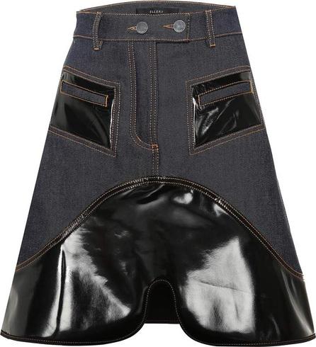 Ellery Vinyl-embellished denim skirt