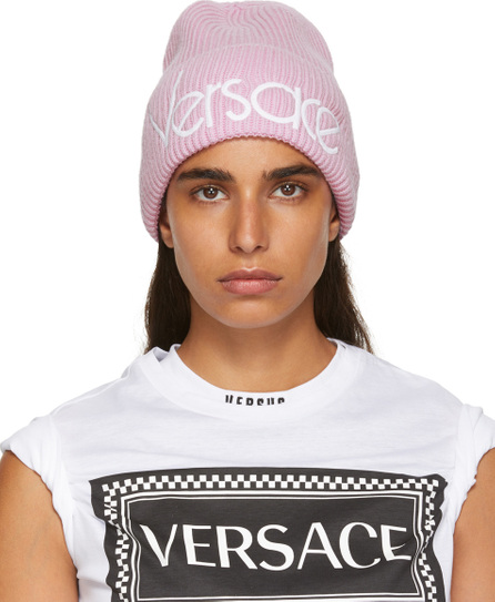 Versace Pink Wool Logo Beanie