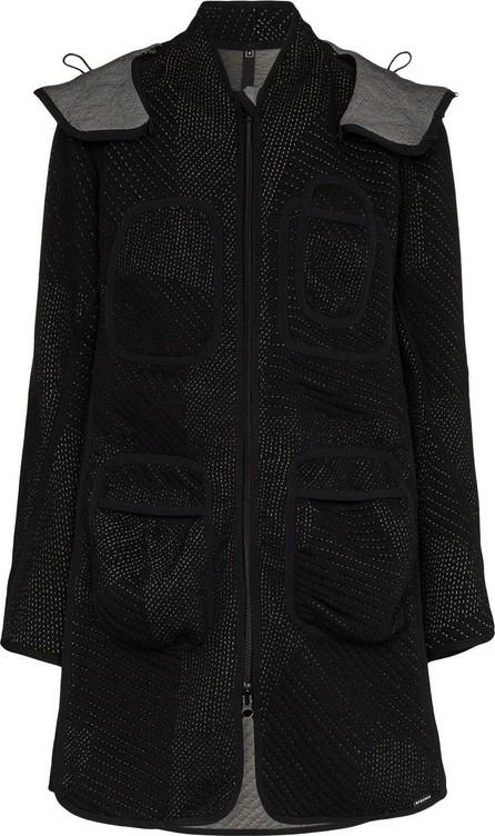 Byborre Stitch detail hooded parka coat