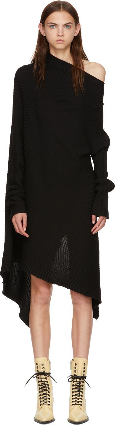 Marques'Almeida Black Draped Wool Dress