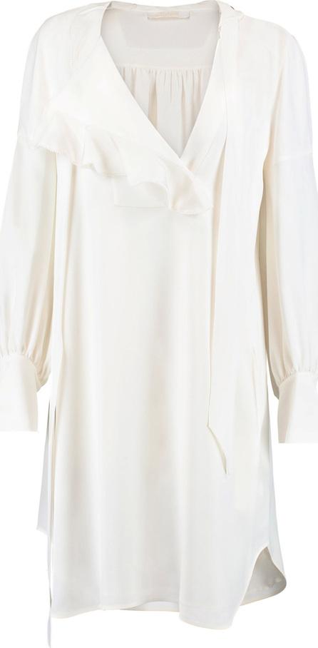 Chloe Ruffled crepe shirt dress