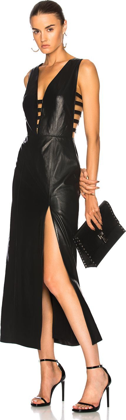 Understated Leather Ultimate for FWRD Leather Cage Dress with Slit