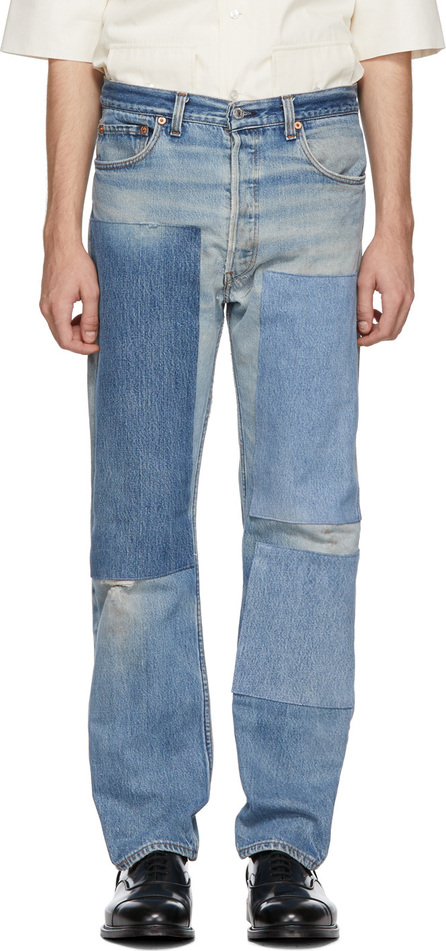B Sides Indigo Reworked Three Patches Single Contrast Jeans