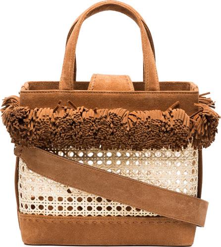Mehry Mu Brown Fey Pom Pom Suede Basket Bag