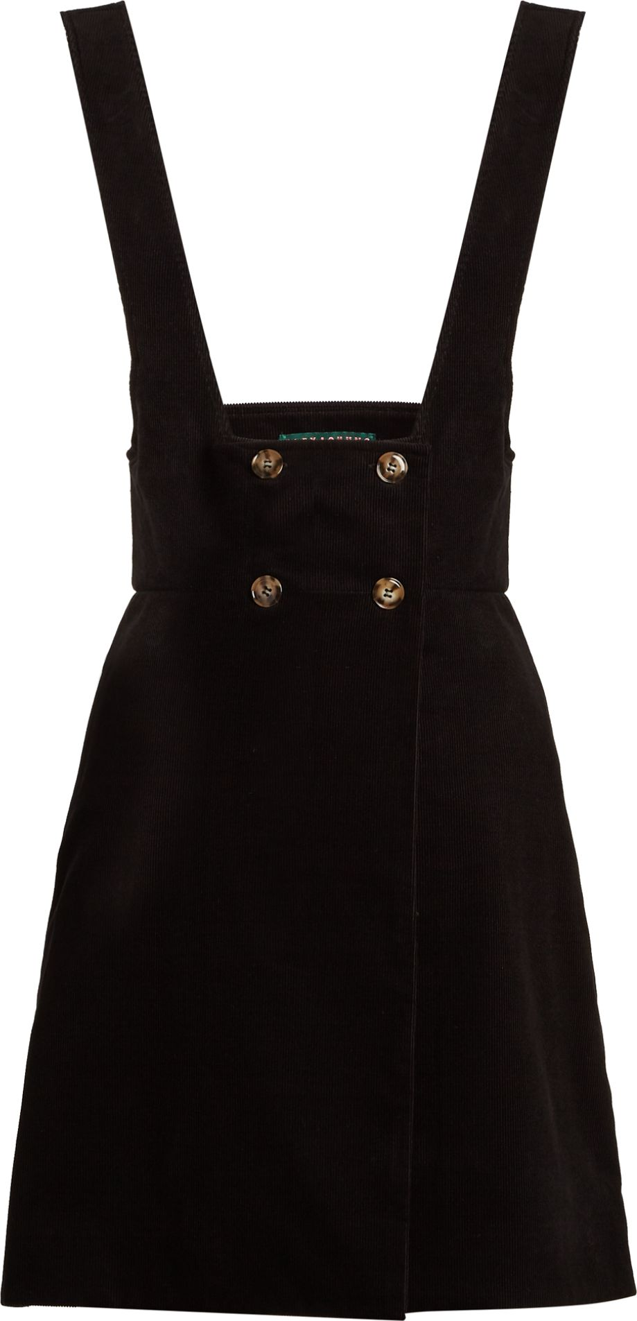 Alexachung - Double-breasted cotton-corduroy pinafore dress