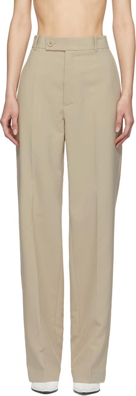 Helmut Lang Beige Poly Suit Trousers